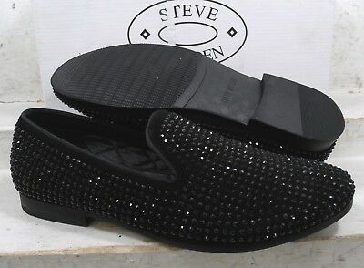 ba274e18986 Steve Madden Mens Caviarr Black Leather Casual Slip On Loafers Shoes sz  11.5 M