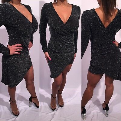 Connie's Pre Owned Long Sleeve Gray faux wrap dress stretchy sparkle knit mini S