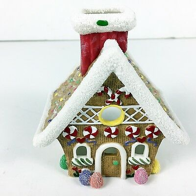 Gingerbread House Christmas Village Tea Light Candle Holder Winter Holiday