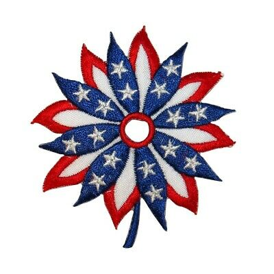 6ef3e12c04f ID 1086Y Patriotic Flag Flower Patch American Craft Embroidered Iron On  Applique
