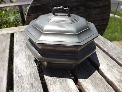 Nice Large Old Pewter Tea Caddy Or Utility Box W Lid