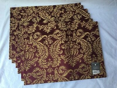 Jane Seymour St. Catherine's Court Kings Court Damask Burgundy Placemat Set of 6