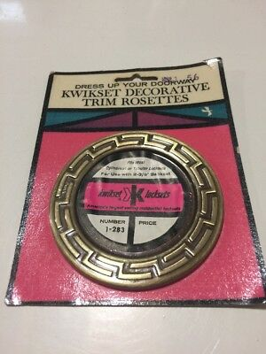 Kwikset Decorative Trim Rosette Door Handle Antique Brass Vintage 1963