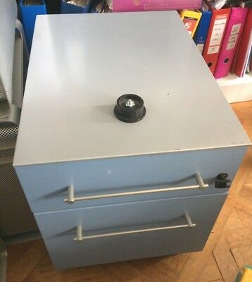 Under desk two 2 drawer lockable small blue metal filing cabinet with drawer