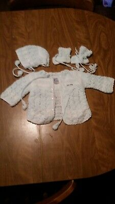 Vintage Glg knit Baby Boy Sweater Booties Hat Handmade
