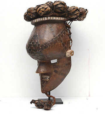 Vintage RARE African Salampasu mask Congo rattan ball helmet Warrior carved wood
