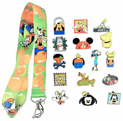 Goofy Themed Starter Lanyard Set w/ 5 Disney Trading Park Pins ~ Brand NEW