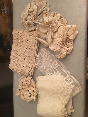 ANTIQUE VINTAGE LACE LOT 2 For Doll Dresses