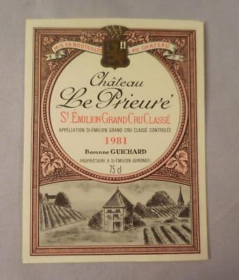 Wine Label Bordeaux Chateau Le Prieure 1981 St Emilion Grand Cru FREE Ship