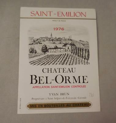 Wine Label Bordeaux Chateau Bel-Orme 1976 St Emilion FREE Ship