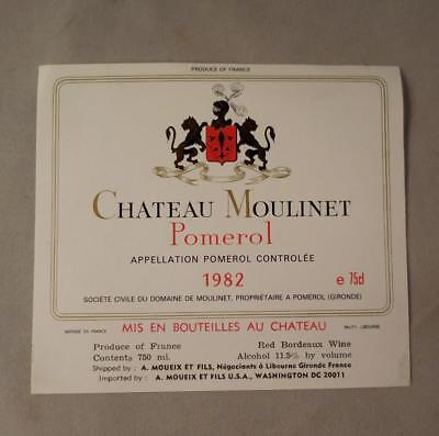Wine Label Bordeaux Chateau Moulinet 1982 Pomerol FREE Ship
