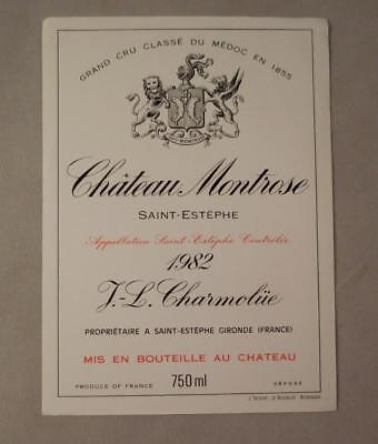 Wine Label Bordeaux Chateau Montrose St. Estephe Grand Cru Medoc 1982 FREE Ship