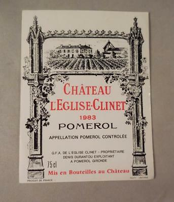 Wine Label Bordeaux Chateau L'Eglise-Clinet 1983 Pomerol. FREE Ship