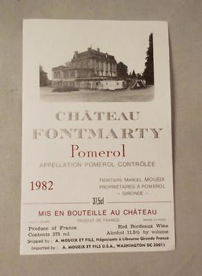 Wine Label Bordeaux Chateau Fontmarty 1982 Pomerol. 37.5cl labelFREE Ship