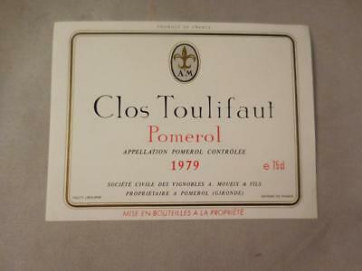 Wine Label Bordeaux Clos Toulifaut 1979 Pomerol. FREE Ship
