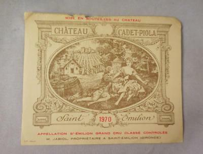 Wine Label Bordeaux Chateau Cadet-Piola 1970 St Emilion Grand Cru FREE Ship