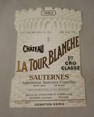 Wine Label Bordeaux Chateau La Tour Blanche 1982 Sauternes 1er Cru FREE Ship