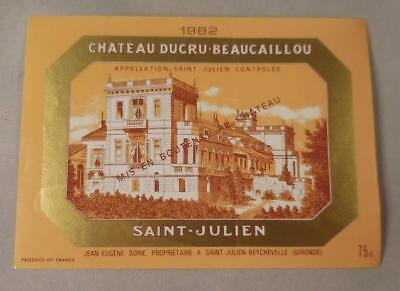 Wine Label Bordeaux Chateau Ducru Beaucaillou 1982 St Julien FREE Ship
