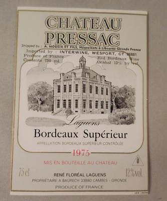 Wine Label Bordeaux Chateau Pressac 1975 Bordeaux Superieur RARE  FS