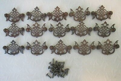 """Lot of 15 Vintage Metal Drawer Chest Pulls Furniture Handles w Screws Small 3"""""""