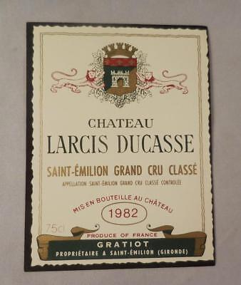 Wine Label Bordeaux Chateau Larcis Ducasse 1982 St Emilion Grand Cru  FS