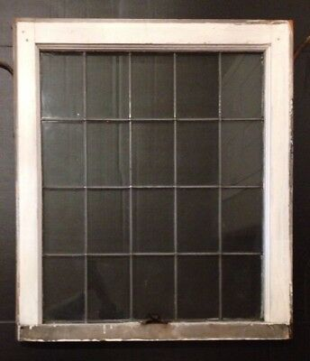 Antique Leaded Glass Wood Framed Window Sash (Upper) Church Salvage Vintage