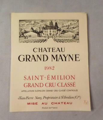 Wine Label Bordeaux Chateau Grand Mayne 1982 St Emilion Grand Cru  FS