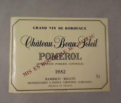 Wine Label Bordeaux Chateau Beau Soleil 1982 Pomerol FREE Ship