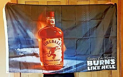 Fireball Whisky Large 3' x 5' NEW advertising Bar Flag Man Cave Banner garage