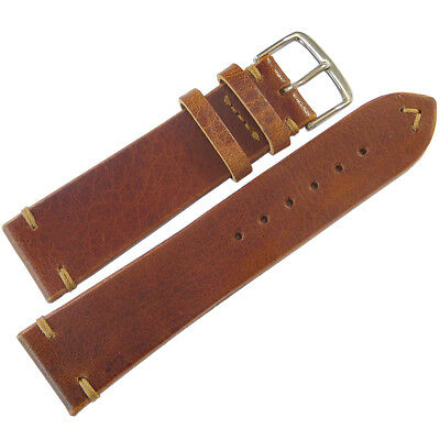 20mm Mens Fluco Troja Tobacco Brown Leather German Made Aviator Watch Band Strap