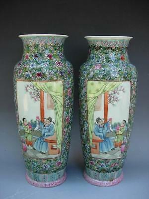 Pair Of Antique Chinese Early 20Thc Famille Rose Vases, Qianlong Mark