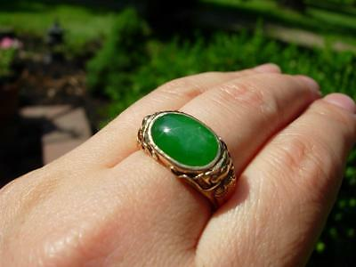 A Nice Antique Chinese 18K Gold & Natural Jadeite Jade Ring W Mason Kay Report