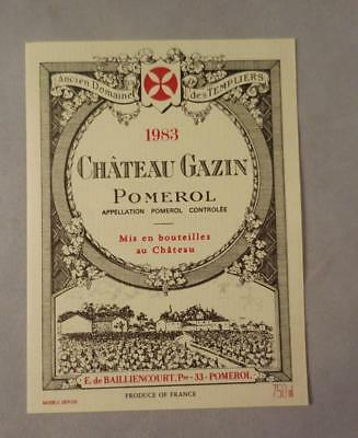 Wine Label Bordeaux Chateau Gazin 1983 Pomerol FREE Ship