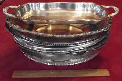 LOT 11 trays bowls serving bread dishes plates service silverplate silver