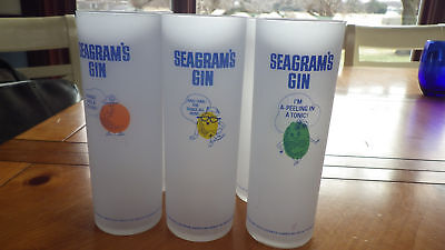 Vintage Tom Collins Glasses Seagrams Gin by Federal Glass Co 6 15 oz Frosted