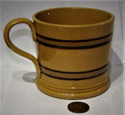 Antique Yellow Ware Pottery  Banded Mug, Applied Handle, c. 1835
