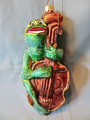 Christopher Radko Frog Cello Viola Bass Christmas Ornament