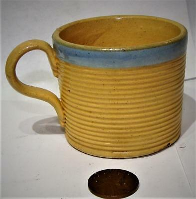 Antique Child's Toy Miniature Yellow Ware Pottery Mug, Applied Handle, c. 1835