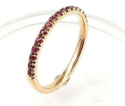64ca3560c78f3 HALF ETERNITY RUBY wedding band or stacking rings,comfort fit,U pave  setting,14K