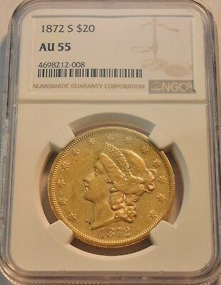 1872 S $20 NGC AU 55 Type 2 Gold Liberty Double Eagle, Better Date, PQ Twenty
