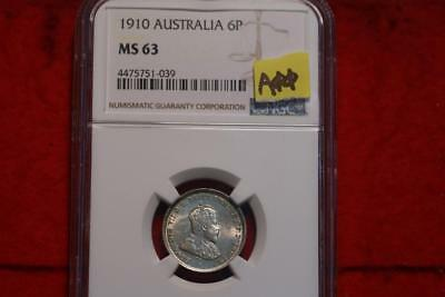 1910 Australia 6 Pence Silver Coin NGC Graded MS 63