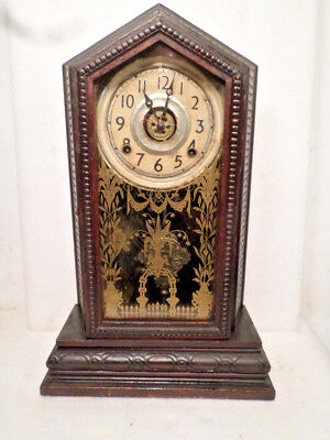 1895 Original Unusual Oak Ingraham Shelf Clock With Carvings All Around The Case
