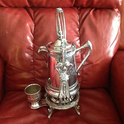 Victorian Silverplated Tilting Water Pitcher & Goblet
