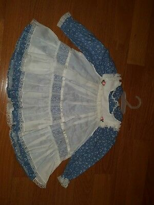 vintage girls dress size 3 T Bryan blue white.