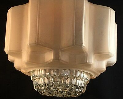 30s ART DECO GEOMETRICAL STEPPED SKYSCRAPER FROSTED GLASS LIGHT SHADE & DIFFUSER