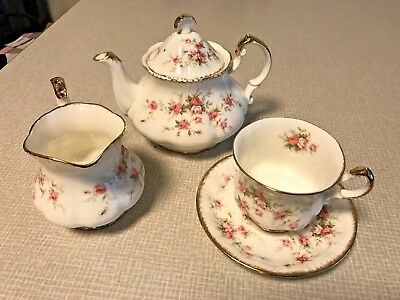 Paragon Victoriana Rose tea pot, tea cup and milk jug