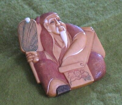 Vintage Chinese Man Hand Painted Carved Resin Brooch Silver Pin