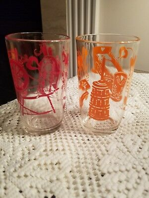 Vintage Swanky Swig Juice Glasses (Kraft Cheese) Set Of 2