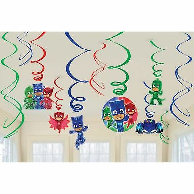 PJ Masks Birthday Party Supplies Swirl Decorations x 12 Owlette Catboy Gecko