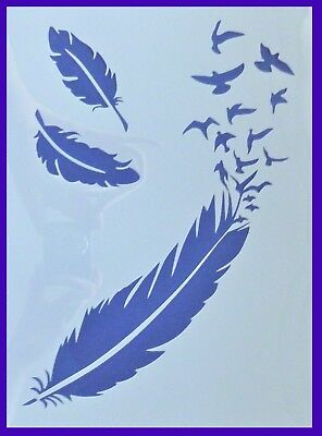 A4 Flexible Stencil *FALLING FEATHERS* Painting Embossing Crafts Birds